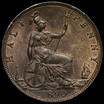 1890 Queen Victoria Bun Head Halfpenny Reverse
