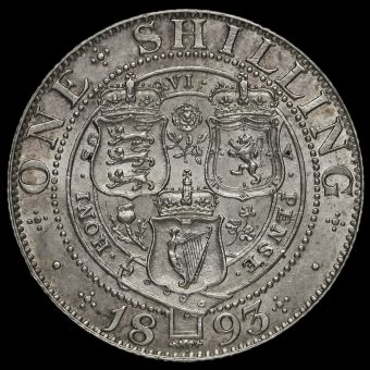 1893 Queen Victoria Veiled Head Silver Shilling Reverse