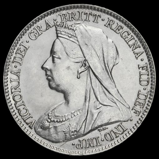1893 Queen Victoria Veiled Head Silver Sixpence Obverse