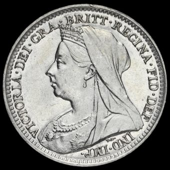 1895 Queen Victoria Veiled Head Silver Threepence Obverse