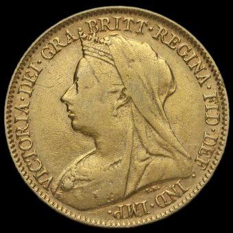 1896 Queen Victoria Veiled Head Half Sovereign Obverse