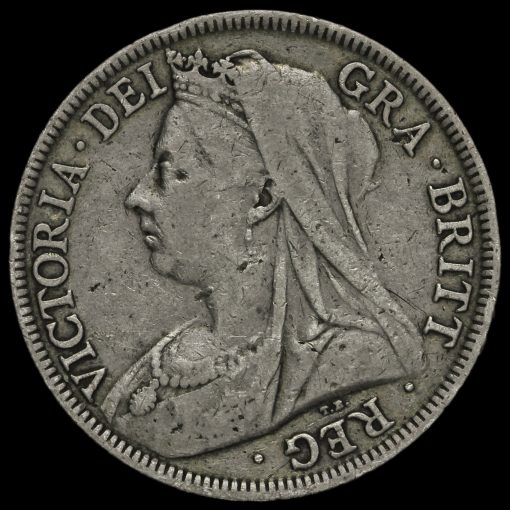 1899 Queen Victoria Veiled HeadSilver Half Crown Reverse