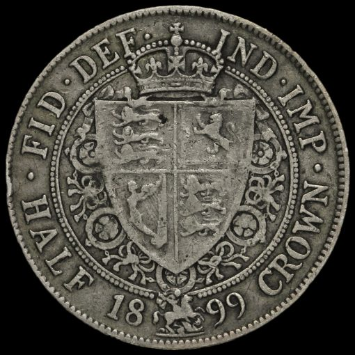 1899 Queen Victoria Veiled Head Silver Half Crown Reverse