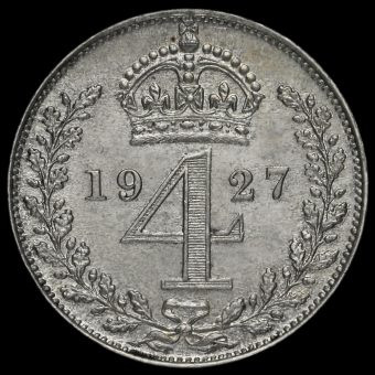 1927 George V Silver Maundy Fourpence Reverse