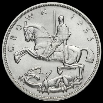 1935 King George V Rocking Horse Silver Jubilee Crown Reverse