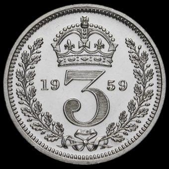 1959 Elizabeth II Silver Maundy Threepence Reverse