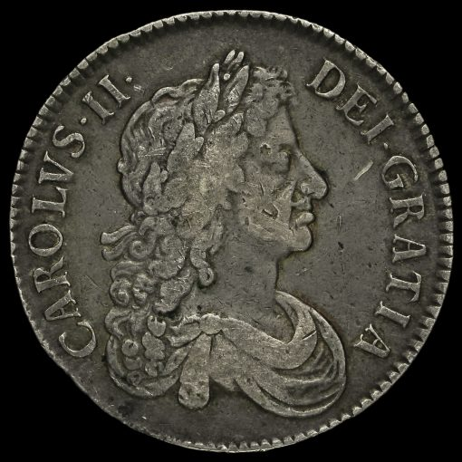 1671 Charles II Early Milled Silver Vicesimo Tertio Crown Obverse