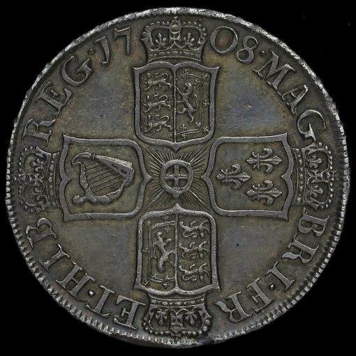 1708 Queen Anne Early Milled Silver Septimo Half Crown Reverse