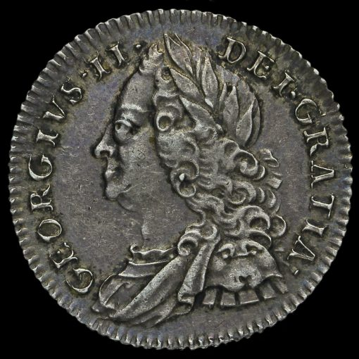 1758 George II Early Milled Silver Sixpence Obverse