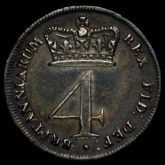 1820 George III Milled Silver Maundy Fourpence Reverse