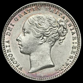 1877 Queen Victoria Young Head Silver Shilling Obverse