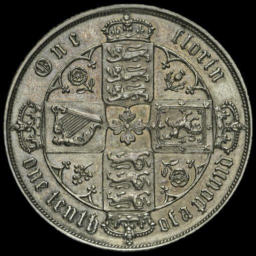 1878 Queen Victoria Gothic Florin Reverse