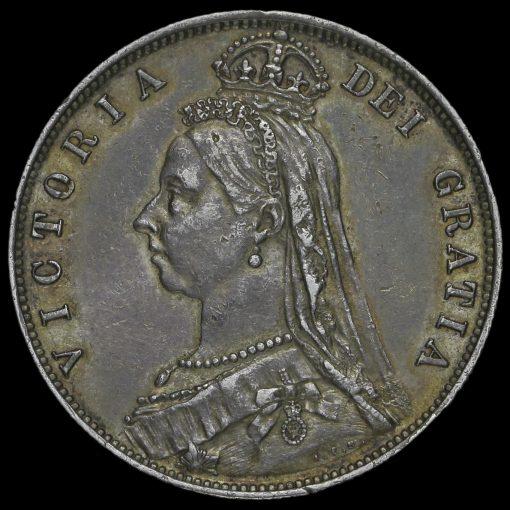 1887 Queen Victoria Jubilee HeadSilver Half Crown Obverse