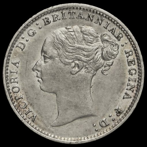1887 Queen Victoria Young Head Silver Threepence Obverse
