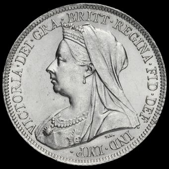 1900 Queen Victoria Veiled Head Silver Shilling Obverse