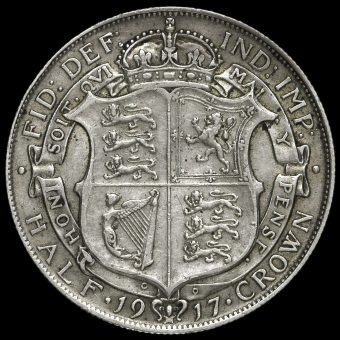 1917 George V Silver Half Crown Reverse