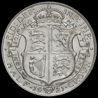 1921 George V Silver Half Crown Reverse