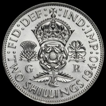 1940 George VI Silver Two Shilling Coin / Florin Reverse