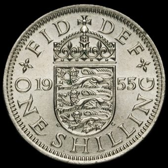 1955 Elizabeth II English Shilling Reverse