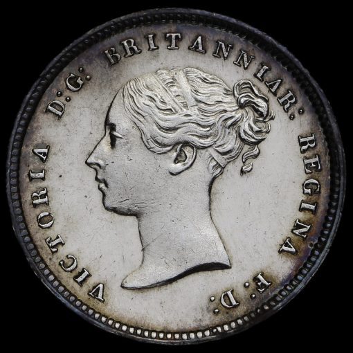 1847 Queen Victoria Young Head Silver Maundy Fourpence Obverse