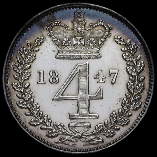 1847 Queen Victoria Young Head Silver Maundy Fourpence Reverse