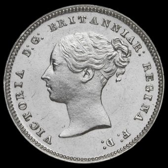 1849 Queen Victoria Young Head Silver Maundy Twopence Obverse
