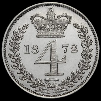 1872 Queen Victoria Young Head Silver Maundy Fourpence Reverse