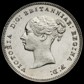 1881 Queen Victoria Young Head Silver Maundy Fourpence Obverse
