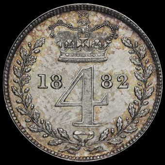 1882 Queen Victoria Young Head Silver Maundy Fourpence Reverse