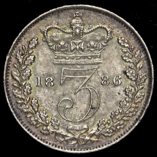 1886 Queen Victoria Young Head Silver Threepence Reverse
