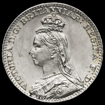 1889 Queen Victoria Jubilee Head Silver Maundy Penny Obverse