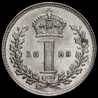 1889 Queen Victoria Jubilee Head Silver Maundy Penny Reverse