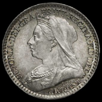 1896 Queen Victoria Veiled Head Silver Maundy Penny Obverse