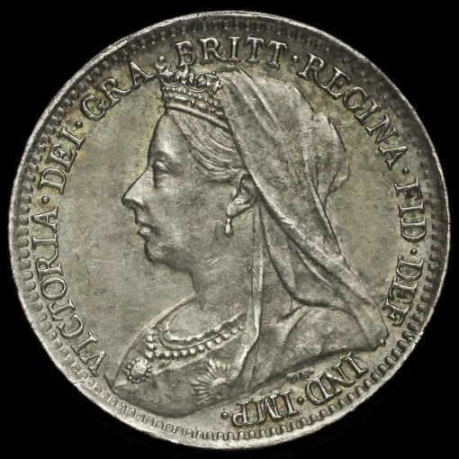 1900 Queen Victoria Veiled Head Silver Threepence Obverse