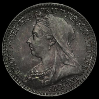 1900 Queen Victoria Veiled Head Silver Maundy Penny Obverse