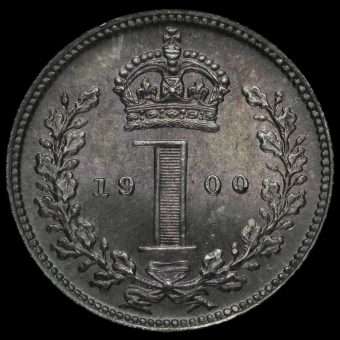1900 Queen Victoria Veiled Head Silver Maundy Penny Reverse