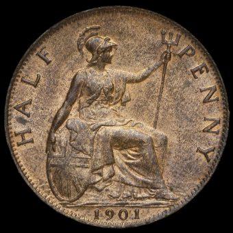 1901 Queen Victoria Veiled Head Halfpenny Rerverse