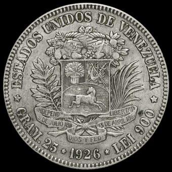 Venezuela 1926 Silver 5 Bolívares Rerverse