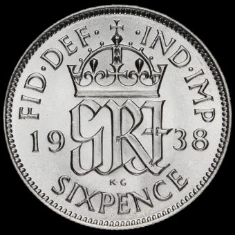 1938 George VI Silver Sixpence Reverse