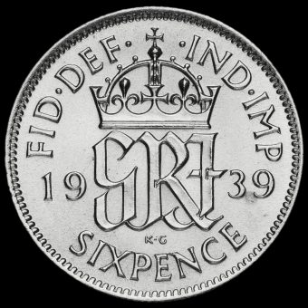 1939 George VI Silver Sixpence Reverse