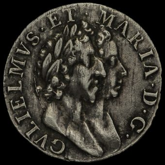 1689 William and Mary Early Milled Silver Maundy Threepence Obverse