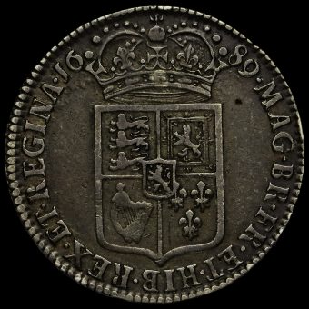 1689 William and Mary Early Milled Silver Half Crown Reverse