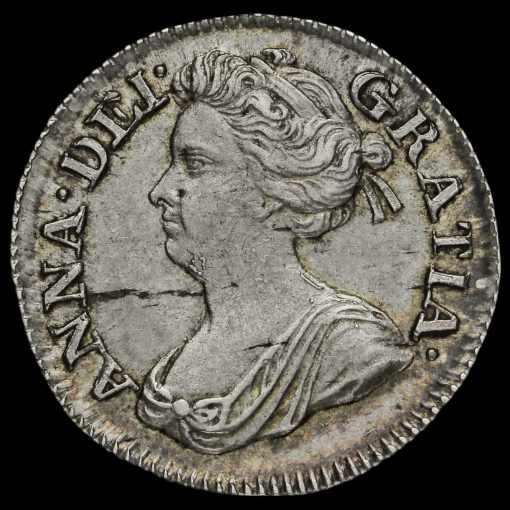 1707 Queen Anne Early Milled Silver Maundy Threepence Obverse