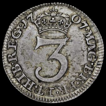 1707 Queen Anne Early Milled Silver Maundy Threepence Reverse