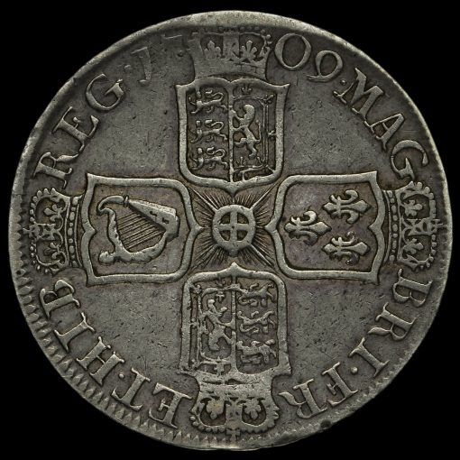 1709 Queen Anne Early Milled Silver Octavo Half Crown Reverse