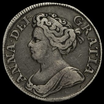 1713/2 Queen Anne Early Milled Silver Shilling Obverse