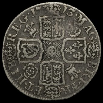 1713/2 Queen Anne Early Milled Silver Shilling Reverse
