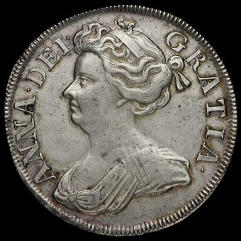 1714 Queen Anne Early Milled Silver Half Crown Obverse