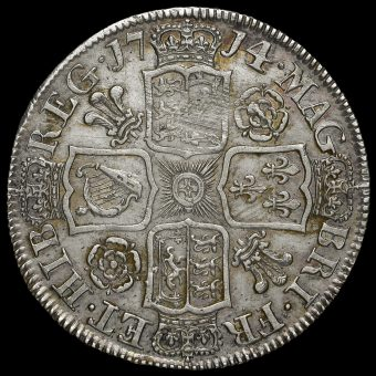 1714 Queen Anne Early Milled Silver Half Crown Reverse