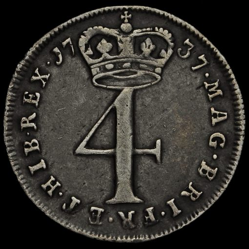 1737 George II Early Milled Silver Maundy Fourpence Reverse